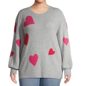 Terra & Sky Crewneck Sweater Hearts Plus Size 3X